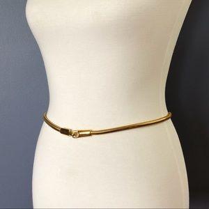 1970's Vintage Minimalist Gold Snake Chain Belt